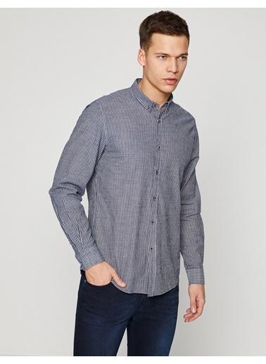 Çizgili Uzun Kollu Gömlek-Koton